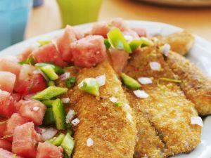 Fisch mit Cornflakes-Kruste und Gemüsesalat Rezept