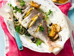 Fisch mit Pesto und wildem Reis Rezept