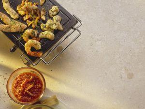 Fisch und Gemüse auf dem heißen Stein gegart Rezept
