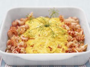 Fischauflauf mit Shrimps und Safran Rezept