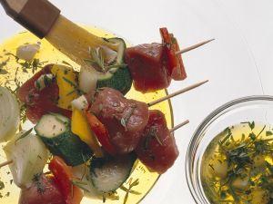 Fleisch-Gemüsespieße Rezept