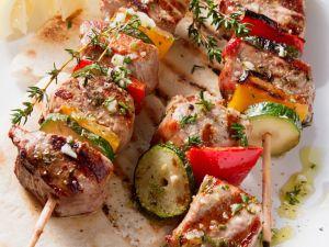 Fleischspieße mit Gemüse vom Grill Rezept