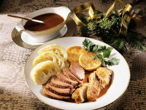 Flugente mit Kartoffeltalern Rezept