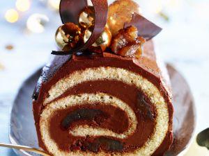 Französicher Baumstammkuchen mit Schokolade und kandierten Kastanien Rezept