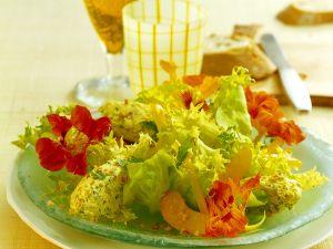 Frischkäsecreme mit buntem Salat Rezept