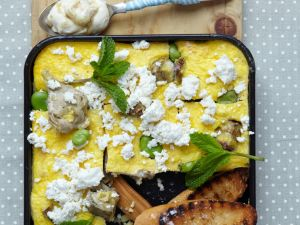 Frittata mit Artischocken, Ricotta und Saubohnen Rezept