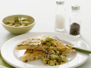 Frittata mit Zucchini und Avocadosoße Rezept