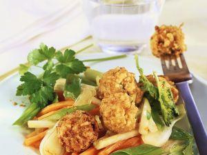 Frittierte Bällchen mit Gemüse Rezept