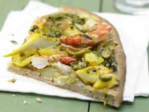 Garnelen-Pizza mit Artischockenherzen Rezept
