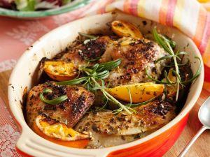 Gebackene Hähnchenteile mit Orangen Rezept