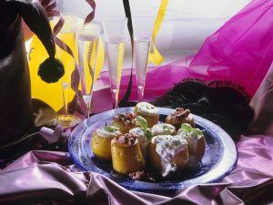 Gebackene Kartoffeln mit Matjestatar und Fischcreme Rezept