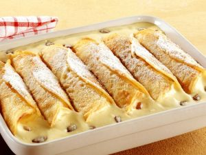 Gebackene Vanillecreme-Crêpes Rezept