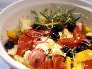 Gebackener Feta mit Gemüse Rezept