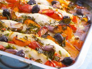 Gebackener Fisch mit Gemüse Rezept
