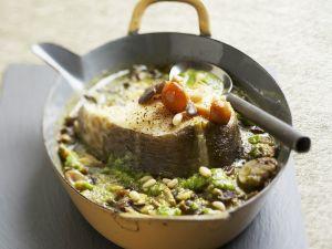 Gebackener Kabeljau mit Pilzen und Pinienkernen Rezept