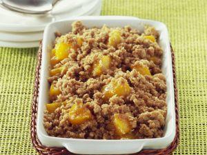 Gebackener Pfirsich mit Streuseln Rezept