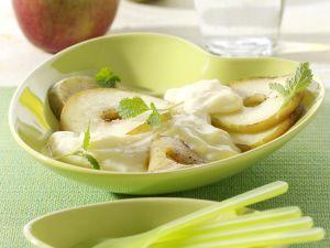Gebratene Apfelscheiben auf Vanillepudding Rezept