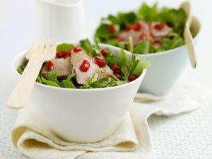 Gebratene Entenbrust mit Granatapfel und Salat Rezept
