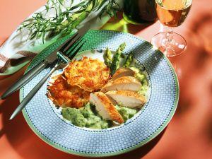 Gebratene Hähnchenbrust mit grünem Spargel Rezept