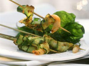 Gebratene Muscheln-Zucchinispieße Rezept