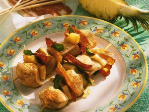 Gebratene Puten-Ananasspieße Rezept
