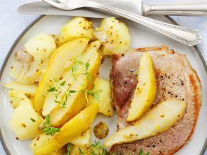 Gebratene Schweinekoteltts mit Birnen-Kartoffeln Rezept