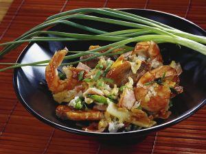 Gebratener Reis mit Ente und Garnelen Rezept