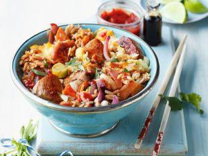 Gebratener Reis mit Hähnchen und Ei Rezept