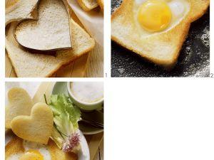 Gebratener Toast mit Spiegelei-Herz Rezept