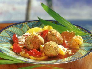 Geflügelfrikadellen mit Honigsoße, Ananas und Paprika Rezept