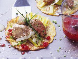 Geflügelleber auf Kartoffelfladen Rezept