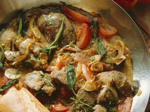 Geflügelleber mit Tomaten und Schinken Rezept