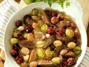 Geflügelleber mit Traubensauce Rezept