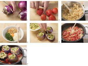 Gefüllte Auberginen mit Tomatensauce Rezept