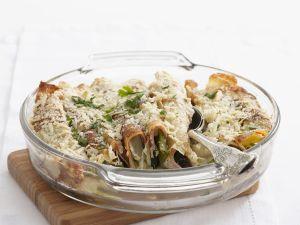 Gefüllte Pfannkuchen mit Schinken, Lauchzwiebeln, Mozzarella und Parmesan Rezept