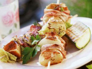 Gegrillte Fleischspieße mit Zucchini Rezept