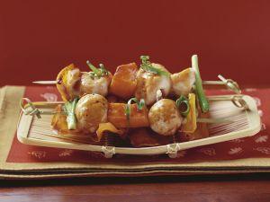 Gegrillte Hähnchen-Süßkartoffel-Spieße (Yakitori) Rezept