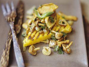 Gegrillte Maisschnitten mit Pilzen Rezept