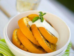 Gegrillte Orange mit Vanillesoße Rezept