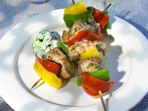 Gegrillte Thunfisch-Paprikaspieße Rezept