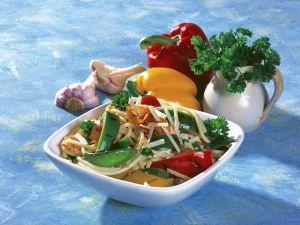 Gegrilltes Gemüse auf Pasta Rezept