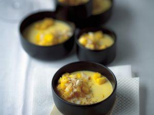 Gelbe Panna cotta mit Mango und Safran Rezept