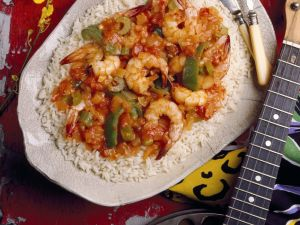 Gemüse-Garnelen mit Reis Rezept
