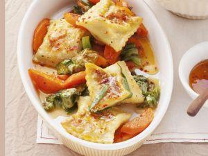 Gemüse-Maultaschen mit Zitrussoße Rezept