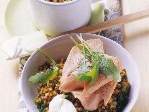 Gemüse mit Buchweizen und Fisch Rezept