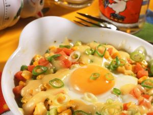 Gemüse mit Ei im Ofen gebacken Rezept