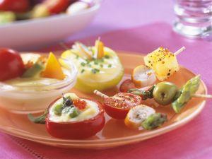 Gemüse mit Mayonnaisedip Rezept