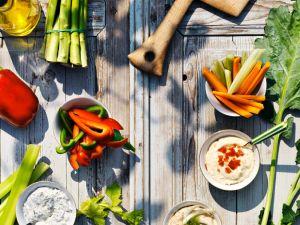 Gemüse mit vier Saucen Rezept