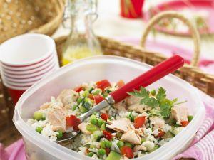 Gemüse-Reis-Salat mit Lachs Rezept