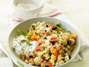 Gemüsecouscous mit Minze und Dip Rezept